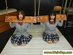 Two poor asian schoolgirls gets punished