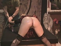 Naughty school girl Antonia gets caned