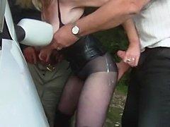 U k amateur public roadside dogging cum compilation  free