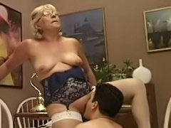 Mature Teacher Tests the Boy