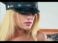 Pretty female cop fucking in gloves and stockings  free
