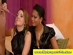 Fully clothed watersports threesome  free