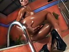 Oiled up Brazilian ebony pounded hard