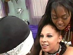 Black cock has to serve two busty lady bosses