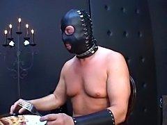 Latex sex in a cat costume
