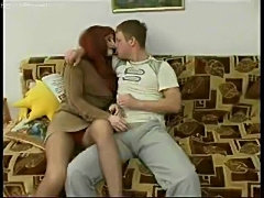 Hot milf redhead in pantyhose craves cock