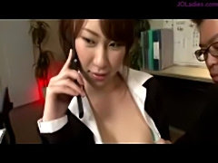 Secretary getting her tits rubbed pussy fingered sucking his free
