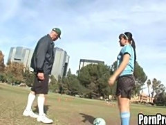 Teen girl goes home with soccer coach and sucks his old gray dick