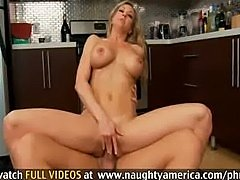 Blonde With Gorgeous Tits and Ass Rides Cock In Kitchen