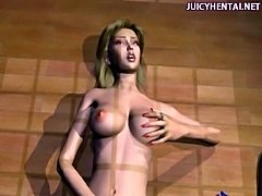Sensual animated blonde masturbating herself