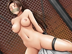 Huge breast Asian women bound with ropes and their round tits tied tight for sex