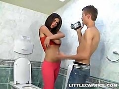 18yo teen Caprice sucking cock in the toilet room