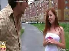 Outdoor fuck of cute russian redhead teen