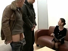 Hairy mature boss with two salaried workers  free