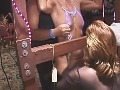 MILF spanked and vibrated till she cums in public