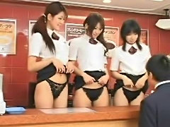 Pretty Asian girls get naughty in fast food restaurant