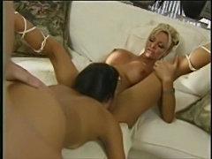 Babe houston on a sofa loving a anal threesome  free