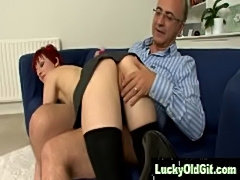 Shorthaired redhead fucked and spanked by older guy  free