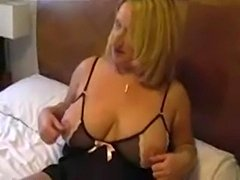 Libby in black undies masturbates on bed