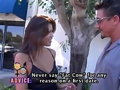 Charmane Star in a parody of one of those dating shows with all those thought bubbles and stuff.