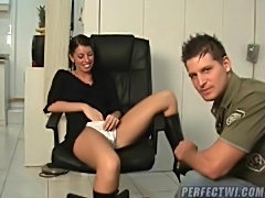 Girl in black leather boots wants her pussy eaten