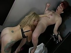 What two classy lesbo milfs can do to each other in men's room