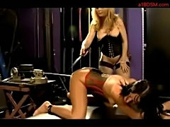Slave girl in corset whipped getting her clit vacumed fucked free