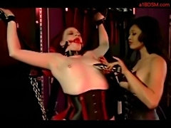 Slave girl in corset licking mistress boots spanked whipped  free