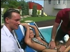 Beautiful girl make a three some near the pool  free