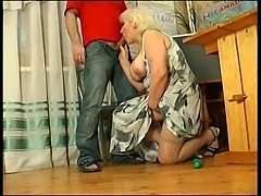 Fat mature in stockings fucked by young