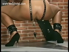 Slave got her pussy stretched with clamps with weight on it  free