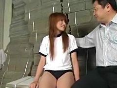 Cute high school japanese gal pleasured by teacher in gym. Blowjob ends with...