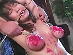 Gagged Japanese rope slave Spanked and Whipped