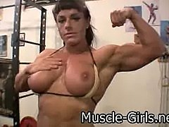 Very hot muscle woman with ripped muscles workout and Topless