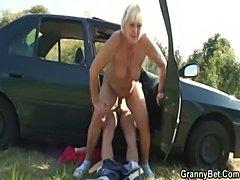 Car driver bangs old whore  free