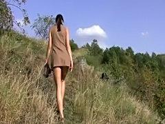 Girl masturbates on grass  free