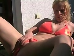 Solo Sexy Teen Using Dildo Chair/Ball
