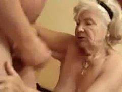 Very old granny finally drinks my cum