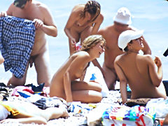 Nudist group on the beach