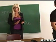 Professor Swede fucks her students big hard cock in her classroom