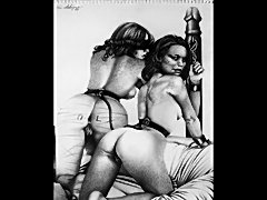 Vintage sexual fetish and bondage artwork showing beautiful women whipped and...