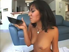 Cum drenched brunette hot creampie fucking