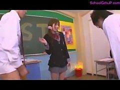 Schoolgirl Sucking And Giving Handjobs For 3 Schoolguys Facials In The Classroom