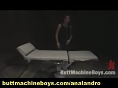 Hairy Big Dicked Boy Self Sufficient by Dildo Plug and Machine