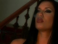 Gorgeous brunettes fuck each other with dildos