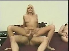 Blonde is fucked while brunette slut watches