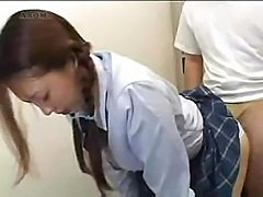 Asian schoolgirl gets her pussy played with before she fucks
