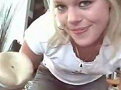Sweet Blond uses Fleshlight on her man