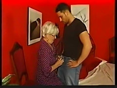 German granny in glasses gets boned
