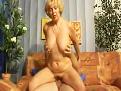 Horny Slut mom rides young cock